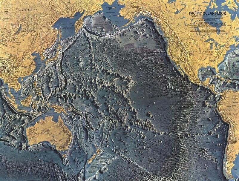 Карта рельефа дна Тихого океана
