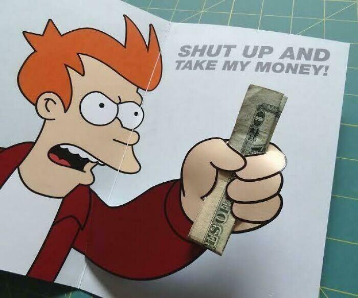 Гениальная открытка-конверт для дарения денег