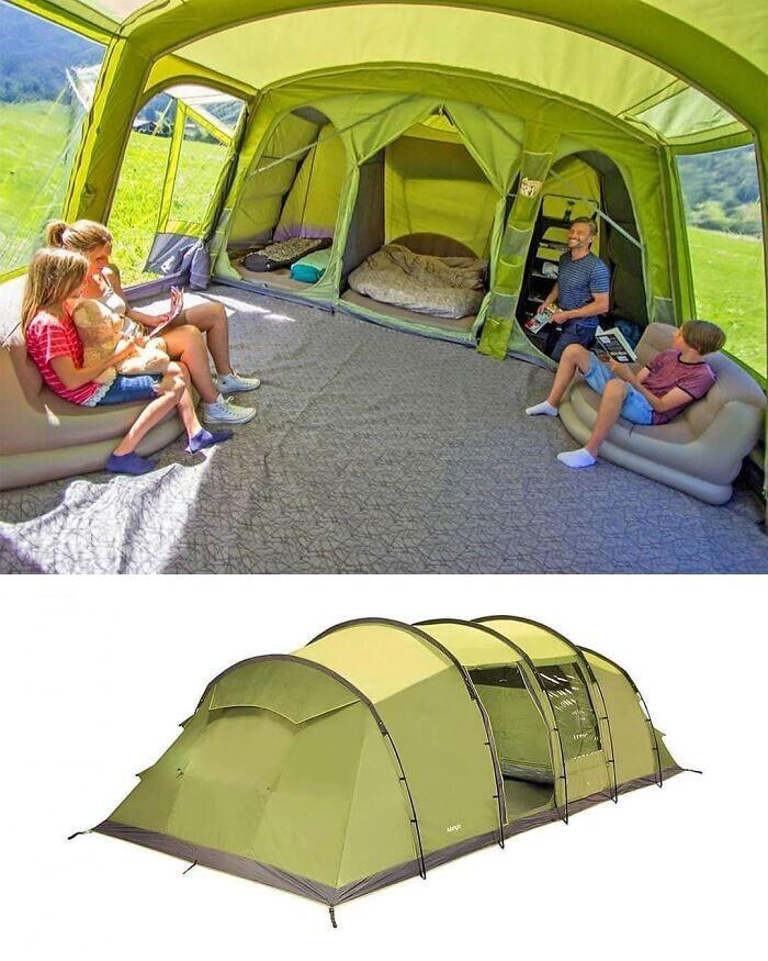 Семейная палатка, где есть не только отдельные спальни, но и общая гостиная