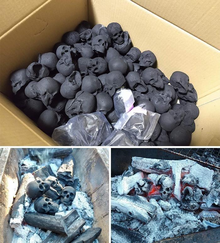 Уголь для мангала в форме черепов. Стильно!