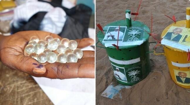 5. С 1965 года голосование в большинстве избирательных участков Гамбии проводится с помощью стеклянных шариков - из-за высокого уровня неграмотности в стране