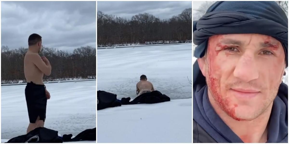 Боец UFCрешил искупаться зимой иударился облёд