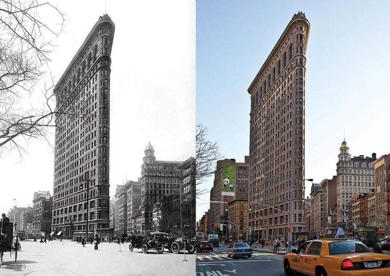 """10. Флэтайрон-билдинг (""""здание-утюг""""), Манхэттен, Нью-Йорк, в 2017 году и в 2012-м"""